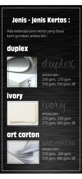 Jenis Kertas : Duplex